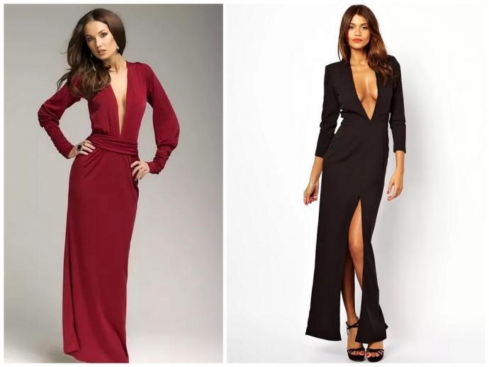 c6000f697f71502 В наряде должны соединиться нарочитая скромность и провокация. Этого можно  добиться, если выбрать платье макси в сочетании с откровенными деталями: ...